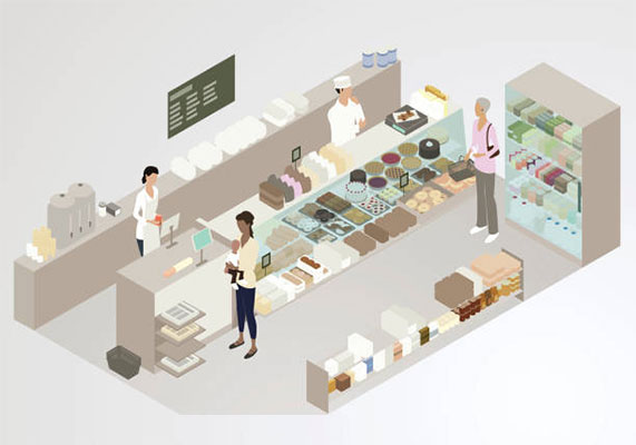 Illustration of an isometric bakery interior