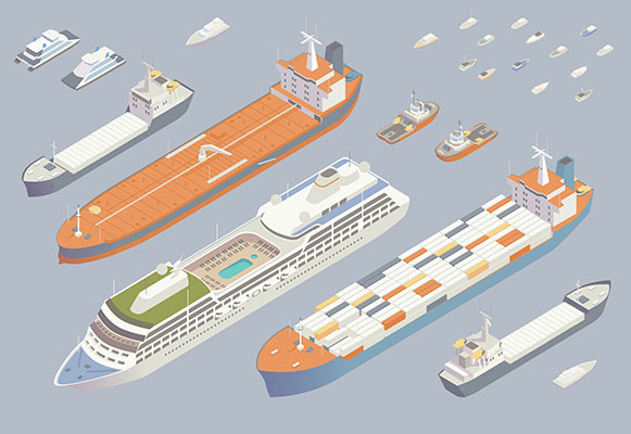 Illustration of isometric boats and ships