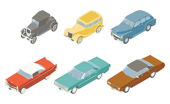 Illustration of classic cars in isometric view
