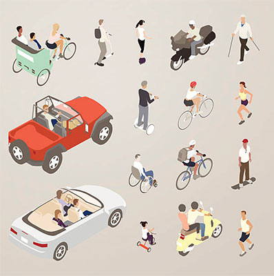 Illustration of people running, walking, and using vehicles